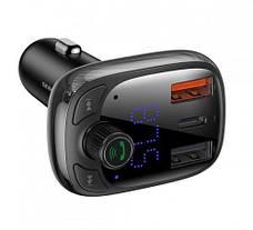 FM-трансмиттер Baseus T-typed S-13 Bluetooth 2USB / 1Type-C 36Вт Черный (CCTM-B01), фото 2