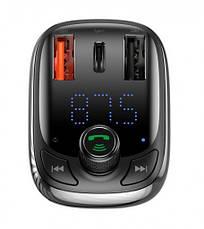 FM-трансмиттер Baseus T-typed S-13 Bluetooth 2USB / 1Type-C 36Вт Черный (CCTM-B01), фото 3