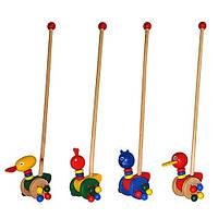 Деревянная игрушка Каталка MD0025животные, на палочке, звук, в пакете 13см