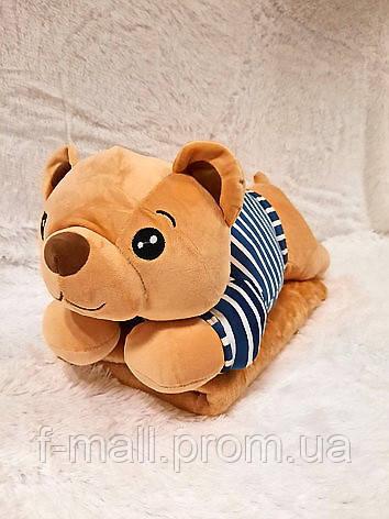Плед - мягкая игрушка 3 в 1  Медвежонок в синей тельняшке (118)