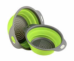 Дуршлаг силиконовый складной Collapsible filter baskets большой + маленький Зеленый 300674, КОД: 1858688