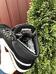 Мужские зимние кроссовки Puma Suede (черно-серые с белым) 10087, фото 4