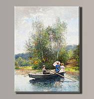 "Картина на холсте ""Прогулка на лодке"" для интерьера"