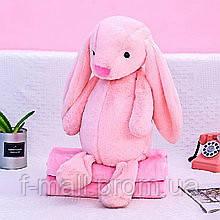 Плед - мягкая игрушка 3 в 1  Зайчик розовый (124)