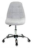 Серое компьютерное кресло на колесиках, офисное кресло обивка шенилл Alex Office