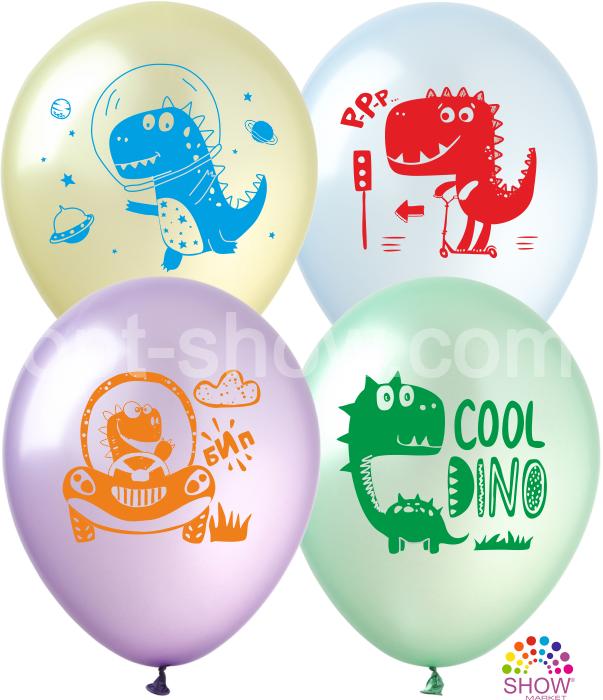 """Латексные шары SHOW Динозавры  на  Pure Crystal 12"""" 30см, 10 шт"""