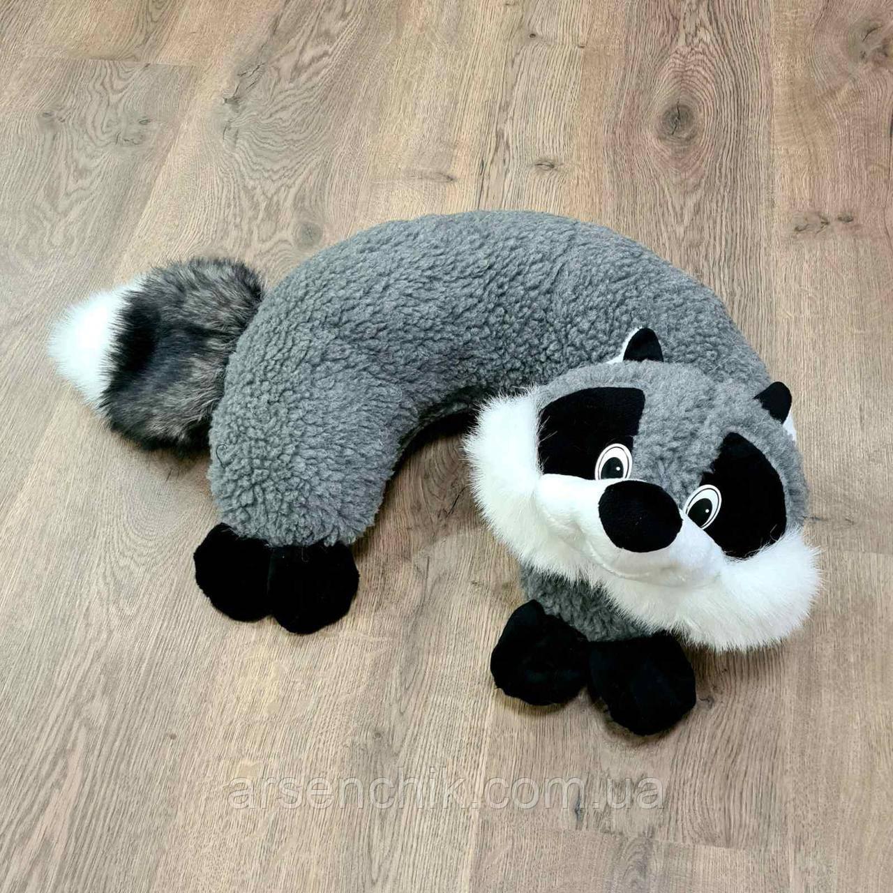 "Іграшка-подушка рогалик з овчини ""Єнот"""