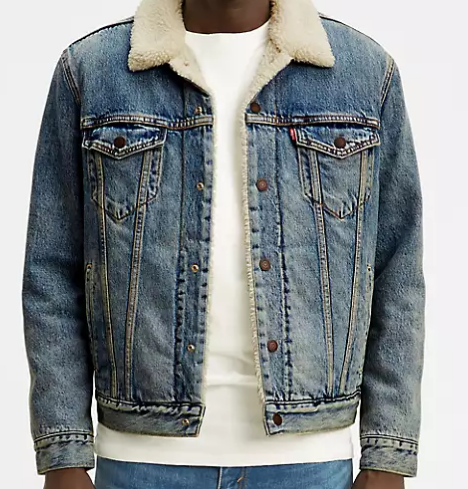 Зимняя джинсовая куртка Levis Sherpa Trucker Jacket - Mustard Sherpa