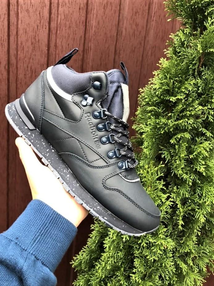 Темно-синие зимние кроссовки Reebok из натуральной кожи