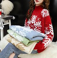 Жіночий светр новорічний / Большой красный и очень сказочный свитер женский, рождественский пуловер