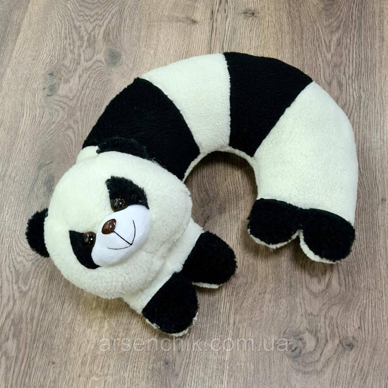 """Игрушка-подушка рогалик из овчины """"Панда"""""""