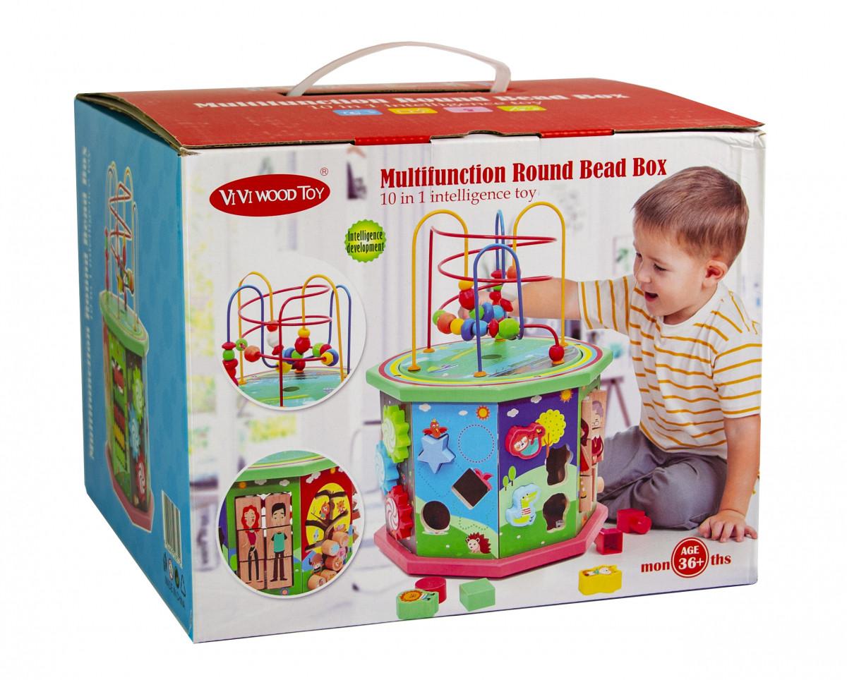 Деревянная развивающая игрушка-сортер 10 в 1 с лабиринтом