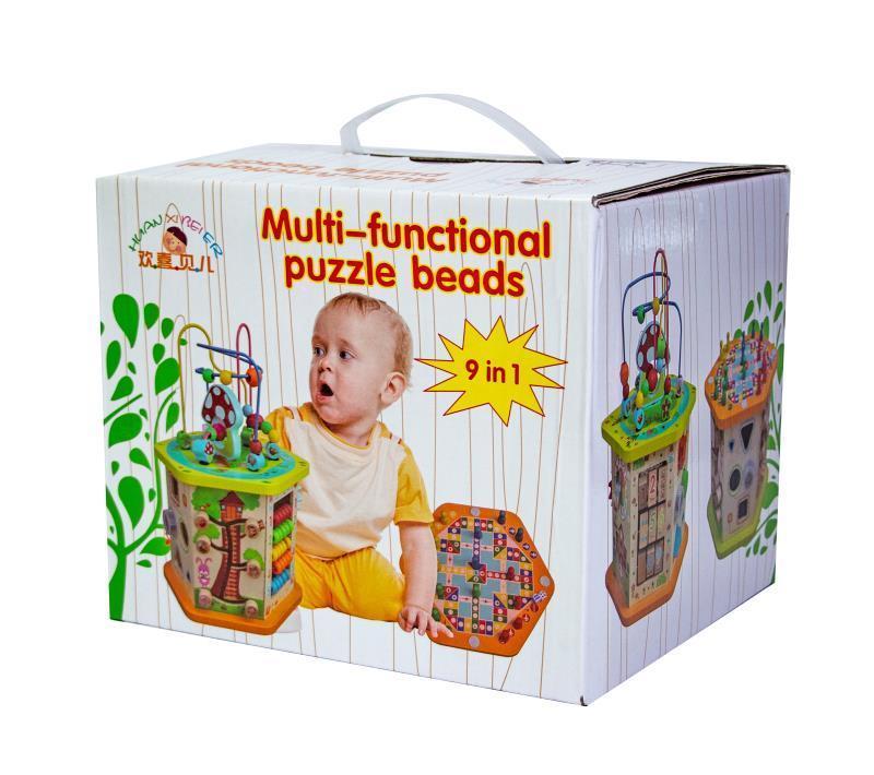 Деревянная развивающая игрушка-сортер 9 в 1 с лабиринтом (5116)