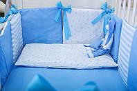 Бортики в детскую кроватку Хлопковые Традиции 30х30 см 6 шт Голубой, КОД: 1639818