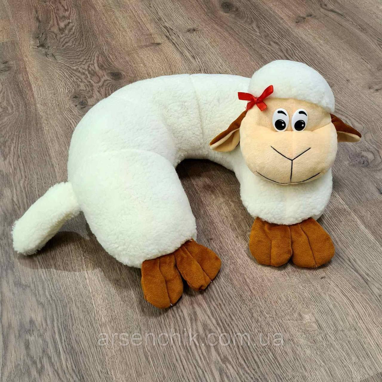 """Игрушка-подушка рогалик из овчины """"Овечка"""""""