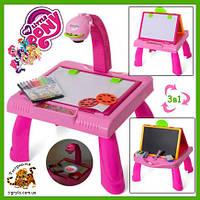 Столик с проектором и мольбертом доской для рисования 2в1 Пони
