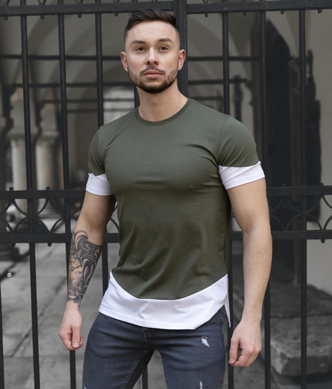Мужская футболка зеленая с белым/ Есть 5 цветов