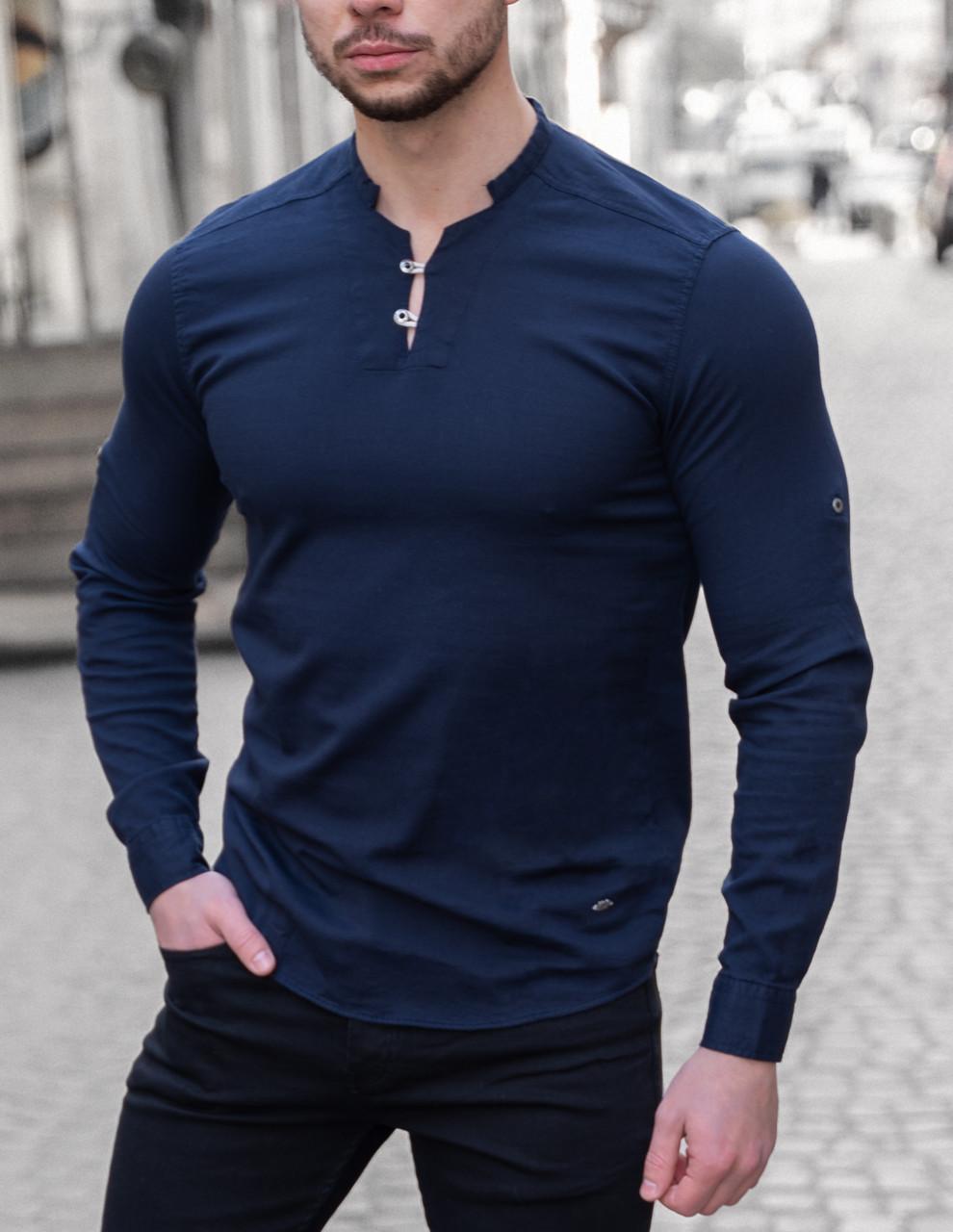 Мужская рубашка лонгслив синяя / 4 цвета