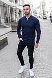Мужская рубашка лонгслив синяя / 4 цвета, фото 2