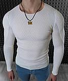 Мужской свитер Белый приталенный / Турция, фото 3