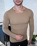 Мужской свитер Белый приталенный / Турция, фото 7