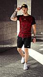 Футболка мужская приталенная - красный цвет с черным/ есть 5 цветов, фото 2