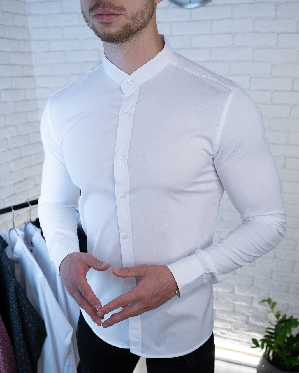 Мужская рубашка белая без ворота / Турция