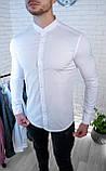 Мужская рубашка белая без ворота / Турция, фото 2