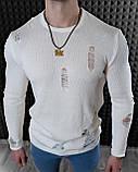 Мужской джемпер оверсайз рванный Белый / Турция, фото 3