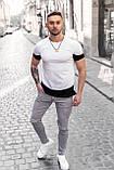 Мужская футболка Белая с черным/ Есть 5 цветов, фото 2
