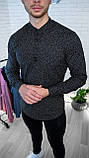 Мужская рубашка Черная с рисунком 3 пуговицы/ Турция, фото 2