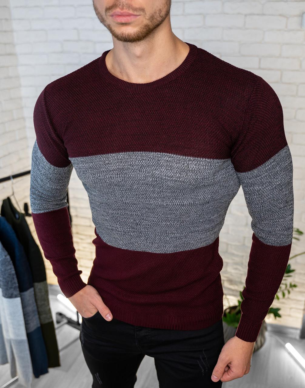 Мужской свитер приталенный серый трех оттенков / Турция Бордовый, S