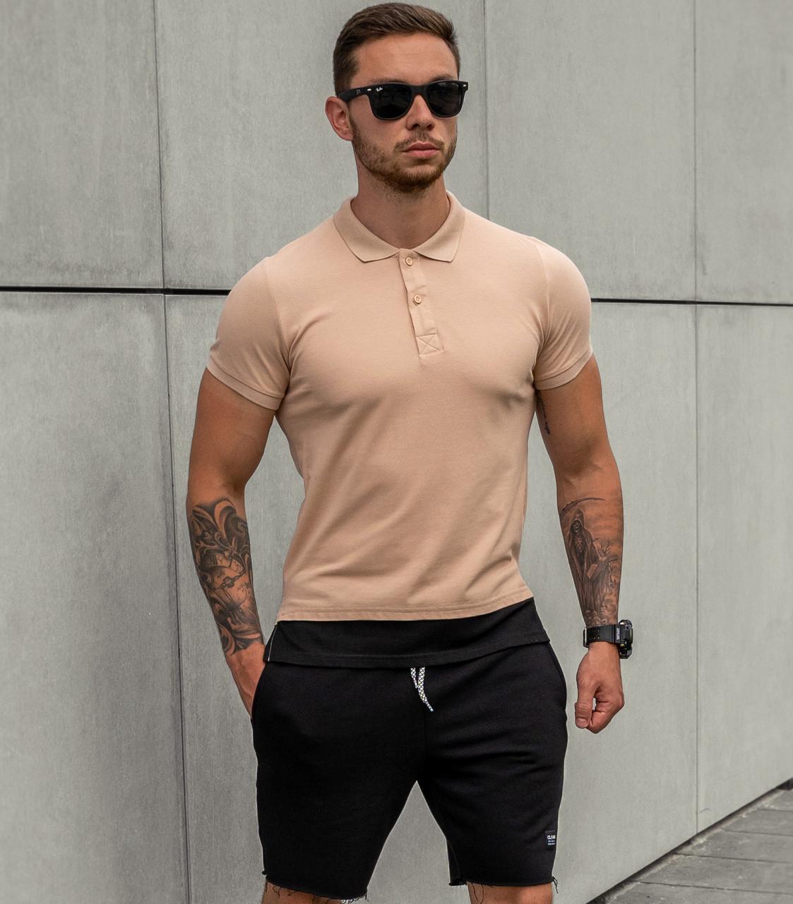 Мужская футболка Поло бежевая