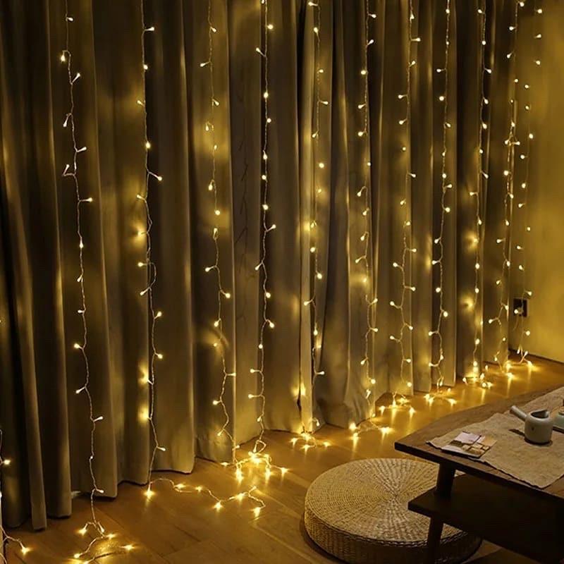 Світлодіодна гірлянда LTL штора curtain 3*3 метра 300 led 220v тепле світіння.
