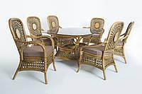 Обеденный комплект стол + 6 кресел Cruzo Ацтека из натурального ротанга Светло-коричневый ok0028, КОД: 950827