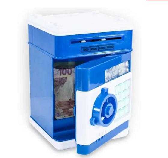 Сейф детский электронный синий XR011 | Детский сейф игрушка с пин-кодом | Копилка с купюроприемником