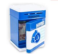 Сейф детский электронный синий XR011 | Детский сейф игрушка с пин-кодом | Копилка с купюроприемником, фото 1