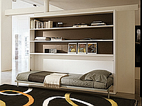 Горизонтальная откидная кровать с полками в гостиную, фото 1