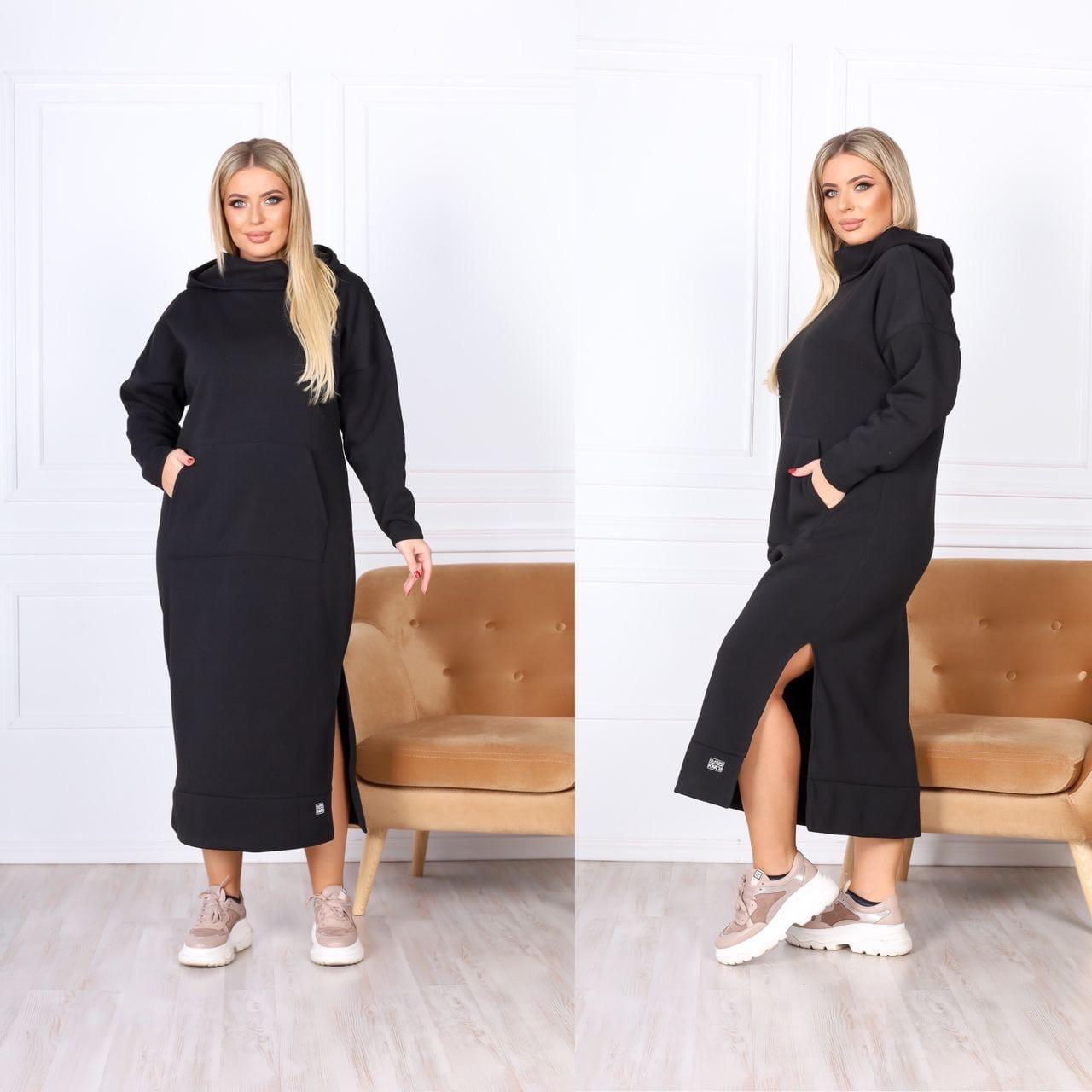 Теплое платье-худи макси с капюшоном 15-769