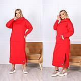Теплое платье-худи макси с капюшоном 15-769, фото 2