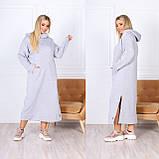 Теплое платье-худи макси с капюшоном 15-769, фото 5