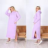 Теплое платье-худи макси с капюшоном 15-769, фото 3