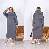 Теплое платье-худи макси с капюшоном 15-769, фото 6