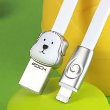 Кабель Lightning Rock Zodiac Dog для зарядки и передачи данных, плоский RCB0500 (Серебристый, 1м), фото 3