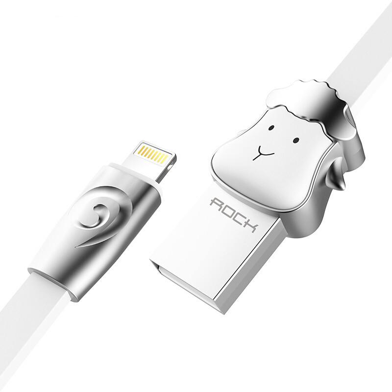 Кабель Lightning Rock Zodiac Sheep для зарядки и передачи данных, плоский RCB0499 (Серебристый, 1м)