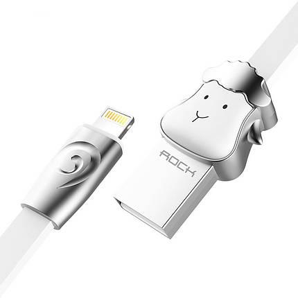 Кабель Lightning Rock Zodiac Sheep для зарядки и передачи данных, плоский RCB0499 (Серебристый, 1м), фото 2