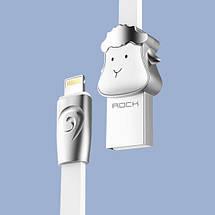 Кабель Lightning Rock Zodiac Sheep для зарядки и передачи данных, плоский RCB0499 (Серебристый, 1м), фото 3