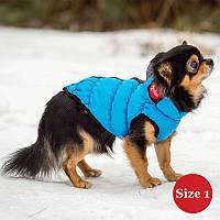Жилет для собаки утепленный DIEGO sport  1/5 голубой, размер 1