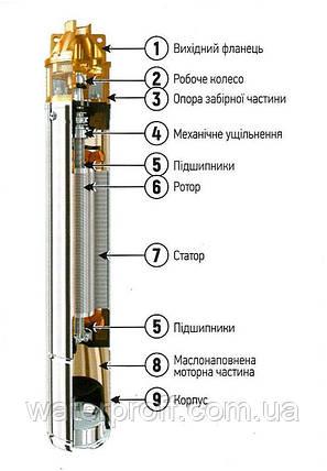 Скважинный вихревой насос 4 SKm 100 KOER, Hmax 60м, Qmax 50л/мин, P 750Вт, фото 2