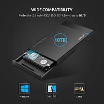 "Внешний корпус для жесткого диска Ugreen (HDD/SSD карман) SATA 2.5"" Type C к USB 3.1 (Черный), фото 3"